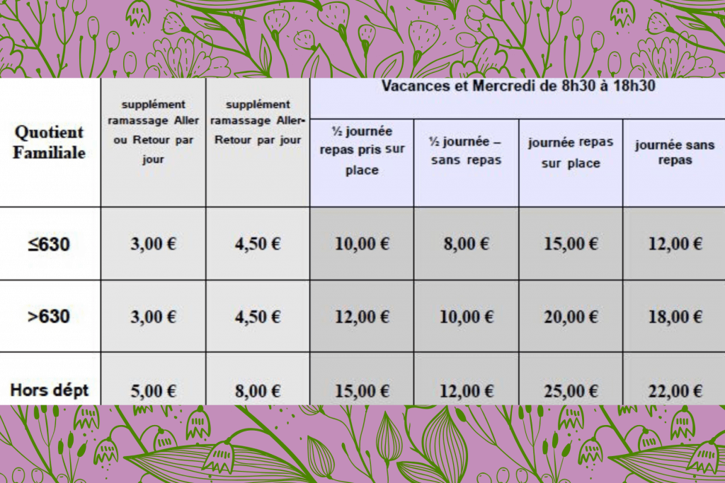 tarif club nature 2020 au coin gascon Saubrigues