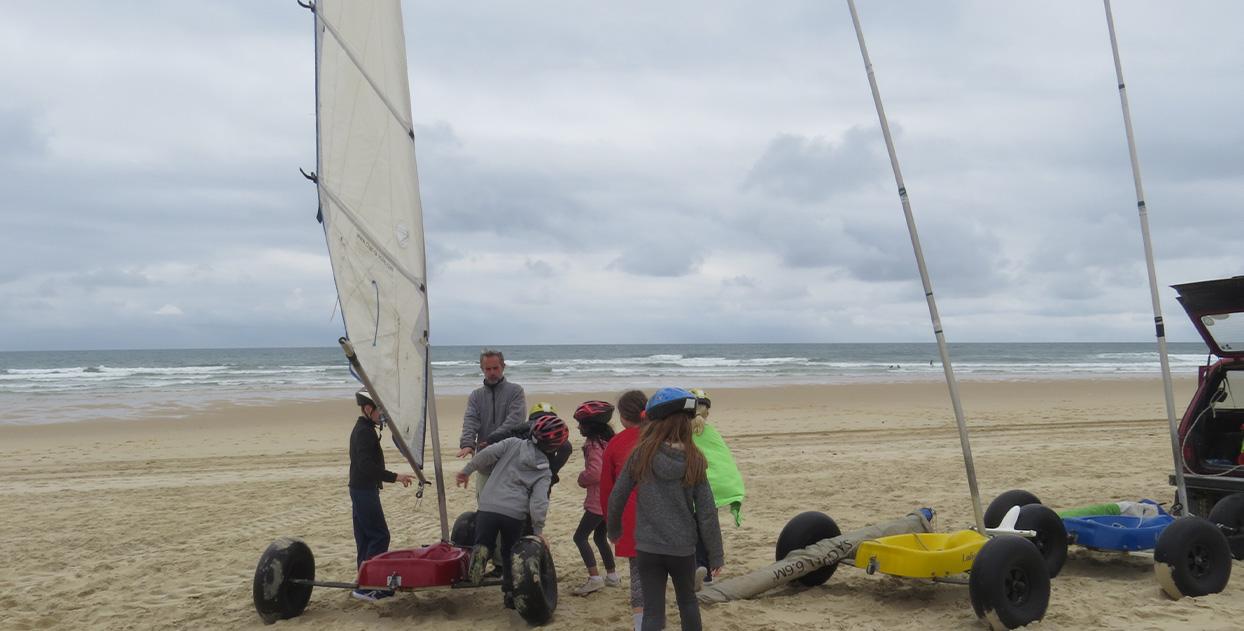 char-à-voile sur les plages landaises